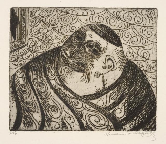 """Jessurun de Mesquita, Ohne Titel (Groteske Fantasie), 1910, Radierung aus der Mappe """"Groteske Verbeeldingen"""", 1918, 135 x 160 mm,"""