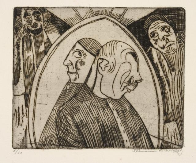 """Jessurun de Mesquita, Groteske Fantasie (zwei Halbfiguren im Profil), 1910, Radierung, 133 x 162 mm, aus der Mappe """"Groteske Verbeeldingen"""", 1918"""