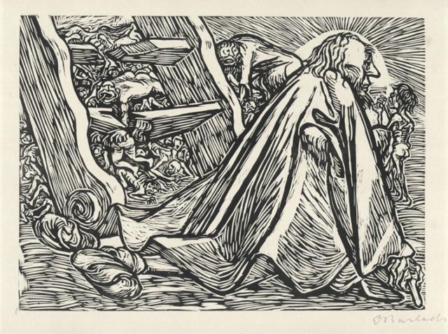 Ernst Barlach, Der göttliche Bettler, 1922, Holzschnitt auf Japan, 257 x 357 mm,