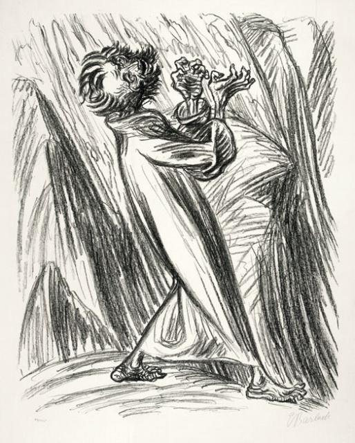 Ernst Barlach, Empörung (Der Prophet Elias), 1922, Lithographie, 521 x 415 mm,