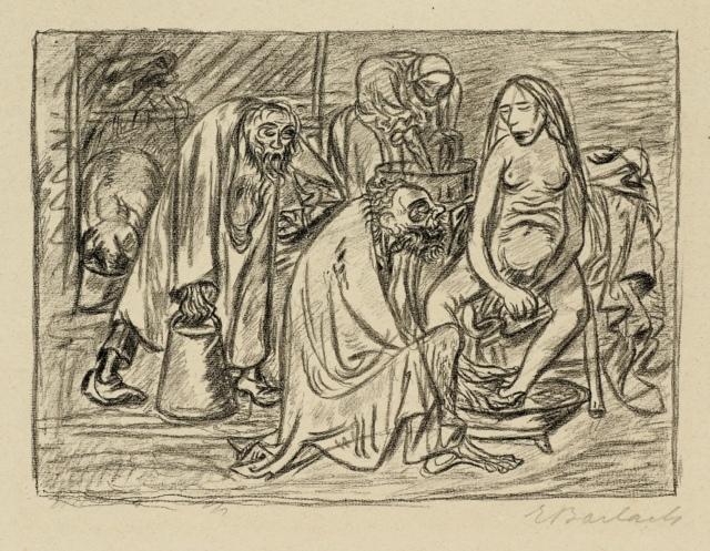 Ernst Barlach, Die Erhalterin der Familie, um 1930, Lithographie, 269 x 370 mm,