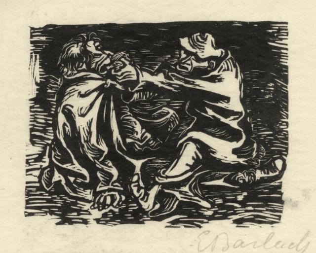 Ernst Barlach, Friß, friß, Vater Kummer, 1922, Holzschnitt auf Japan, 107 x 134 mm,
