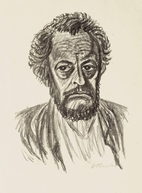 Ernst Barlach, Selbstbildnis I, 1928, Lithographie, 445 x 319 mm,