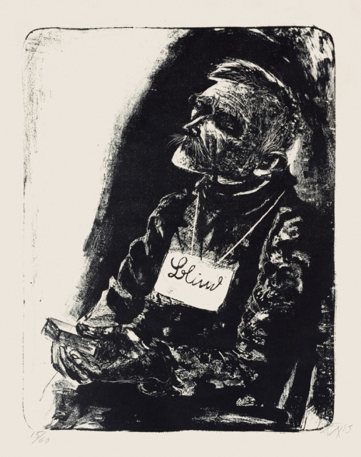 Otto Dix, Blinder, 1923, Lithografie, 490 x 380 mm,