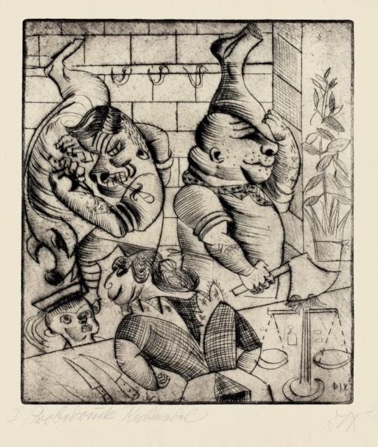 Otto Dix, Fleischerladen, 1920, Radierung, 295 x 258 mm,