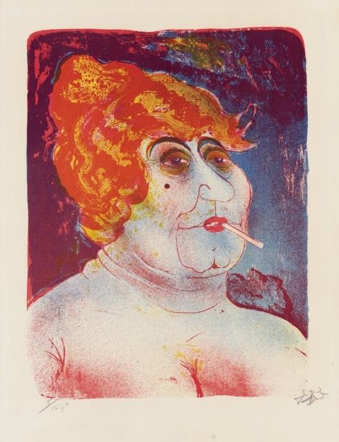 Otto Dix, Kupplerin, 1923, Farblithografie, 480 x 368 mm,