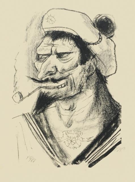 Otto Dix, Südlicher Matrose, 1923, Lithografie, 462 x 315 mm,