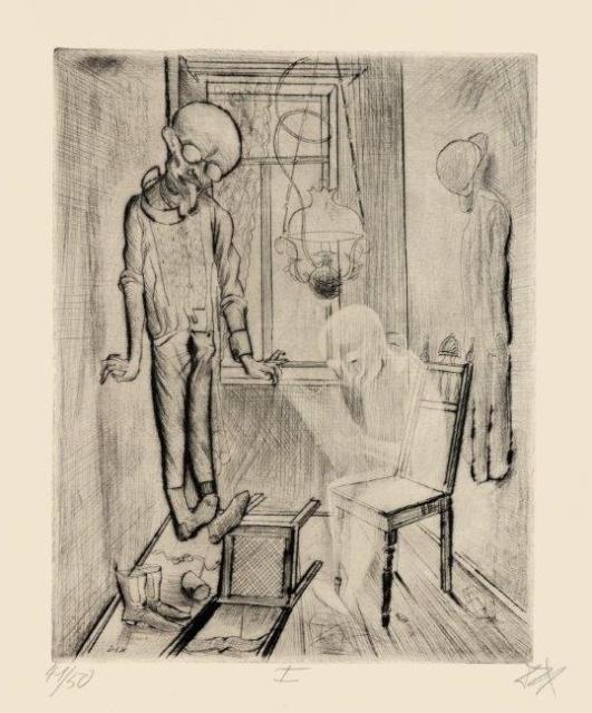 """Otto Dix, Der Selbstmörder, 1922, Radierung Nr. I, aus der Mappe """"Tod und Auferstehung"""", 346 x 275 mm,"""