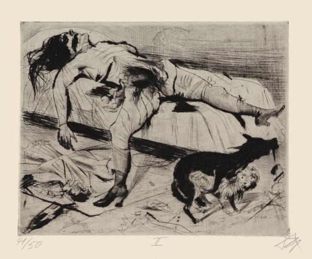 """Otto Dix, Lustmord, 1922, Radierung Nr. II, aus der Mappe """"Tod und Auferstehung"""", 275 x 346 mm,"""