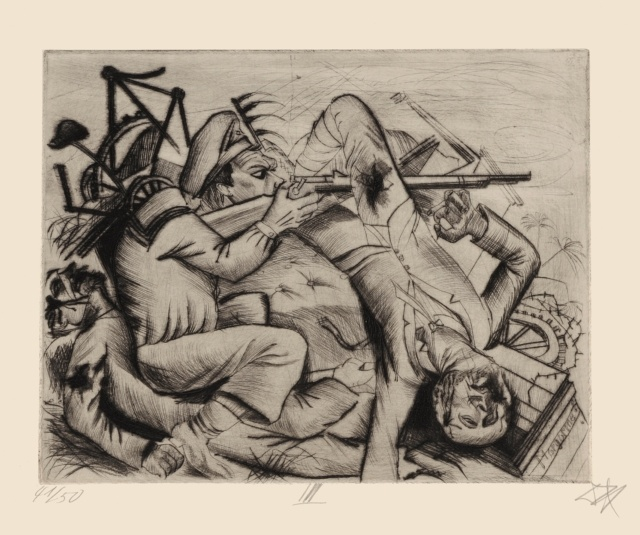 """Otto Dix, Die Barrikade, 1922, Radierung Nr. III, aus der Mappe """"Tod und Auferstehung"""", 274 x 347 mm,"""