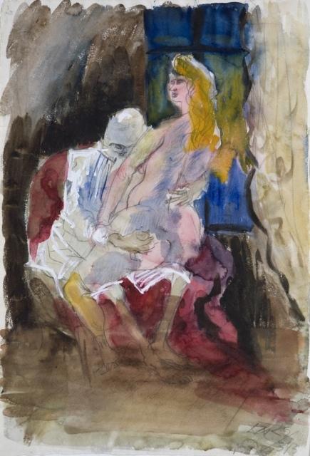 Otto Dix, Studie II. (Ungleiches Liebespaar), 1925, Aquarell und Gouache über Bleistift, 509 x 352 mm,