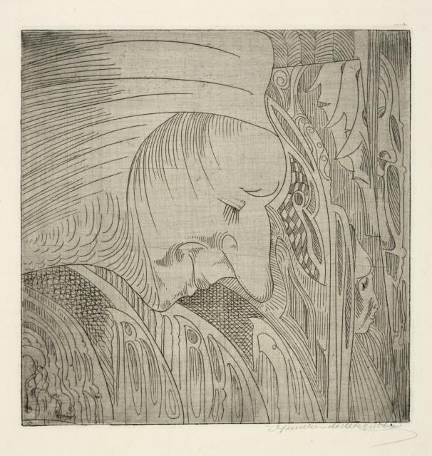 Samuel Jessurun de Mesquita, Ohne Titel (Fantasie), um 1924, Radierung, 199 x 194 mm,
