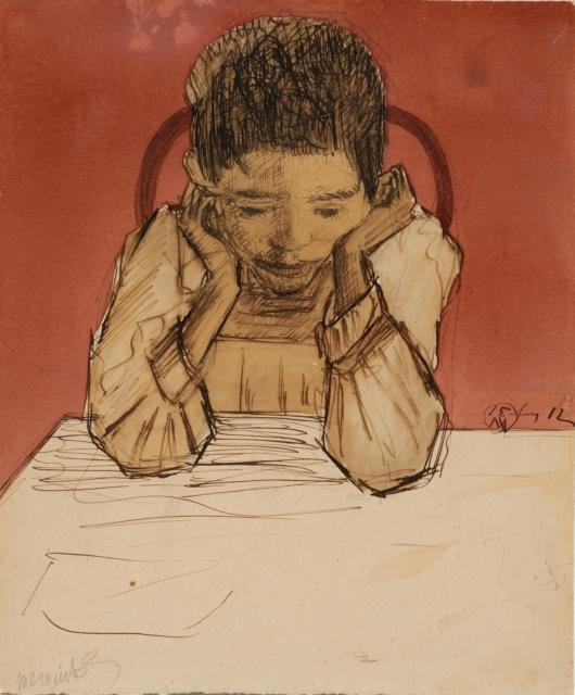 Samuel Jessurun de Mesquita, Ohne Titel, 1912, Feder, Tusche und Aquarell, 289 x 240 mm,