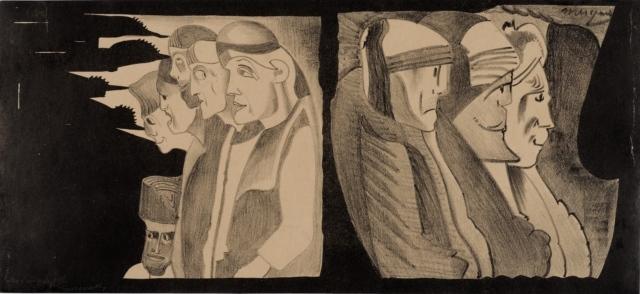 Samuel Jessurun de Mesquita, Ohne Titel (Fantasie), 1924, Zinkätzung, Kreide und Tusche, 230 x 475 mm,