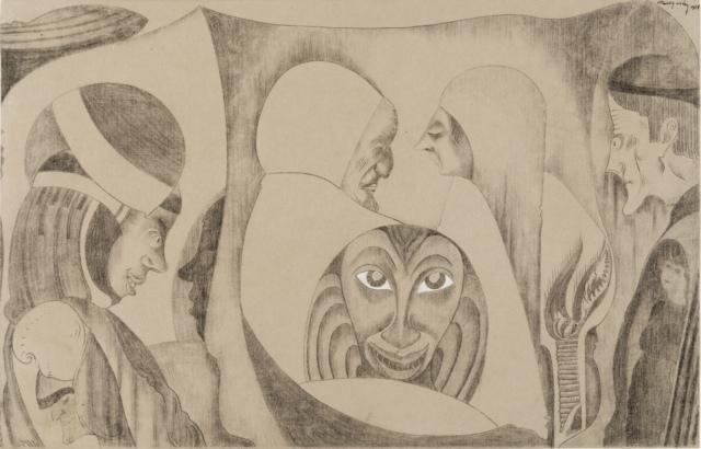 Samuel Jessurun de Mesquita, Ohne Titel (Fantasiezeichnung), 1921, Kohne und weiße Kreide, 325 x 500 mm,