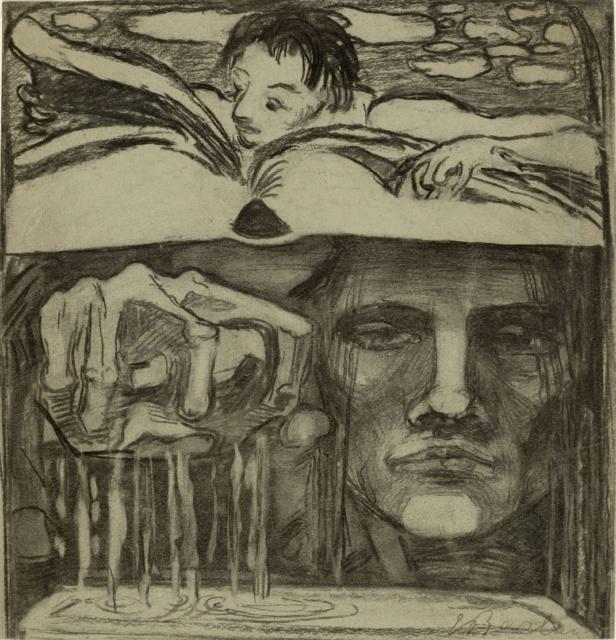 Ernst Barlach, Symbol der Erkenntnis, um 1905, Kohle auf Zeichenpapier, 252 x 242 mm,