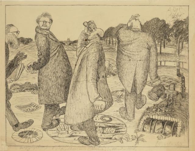 Ernst Barlach, Aus dem Kommissionsbericht der Übersichtigen, 1907, Feder über Kohle auf Zeichenpapier, 449 x 591 mm,