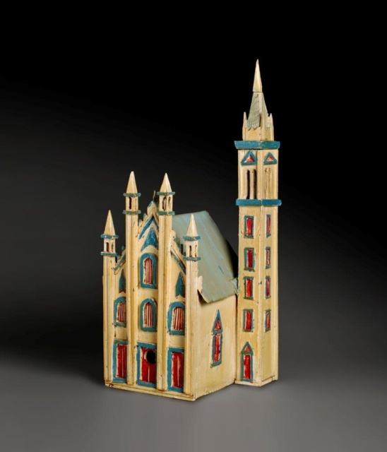 Aldobrando Piacenza, Untitled (Birdhouse cathedral campanile), 1960er Jahre, Holz, Metall und Farbe, ca. 81 x 46 x 41 cm,