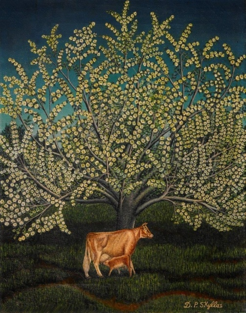 Drossos Skyllas, Ohne Titel (Tree of Life with cow and calf), um 1950, Öl auf Leinwand, 36 x 46 cm,