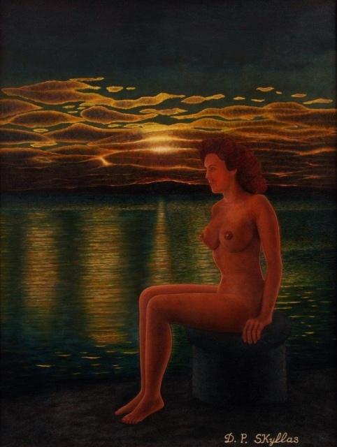 Drossos Skyllas, Untitled (nude on pier), um 1960, Öl auf Leinwand, 61 x 46 cm,