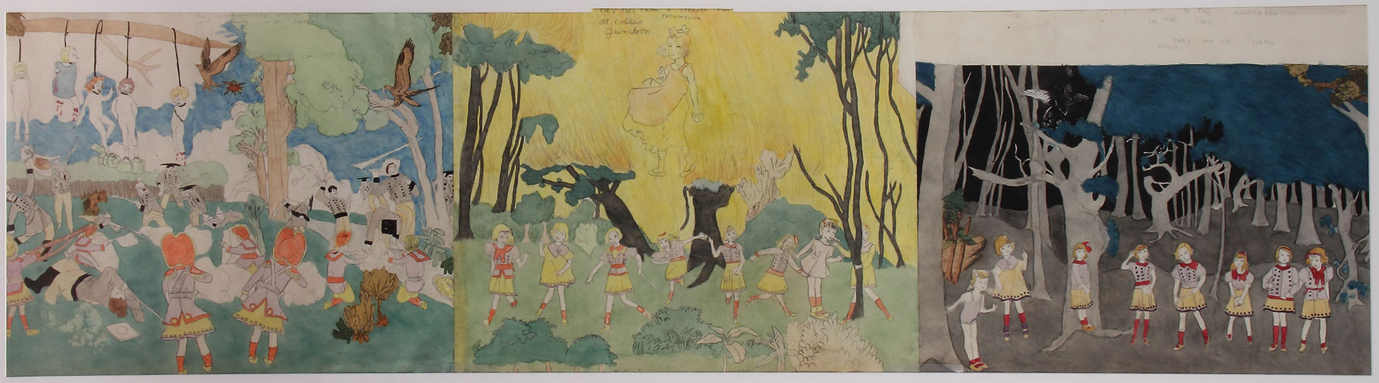 Henry Darger, Ohne Titel, undatiert, Aquarell und Bleistift auf Papier, 46 x 178 cm, Collection of Robert A. Roth