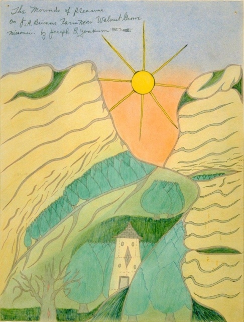 Joseph Yoakum, The Mounds of Pleasure/on JA Brimms Farm Near Walnut Grove, 1970, Tusche und Pastell auf Papier, 39 x 30 cm,