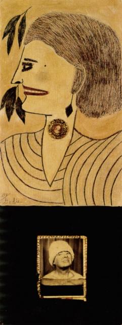 Lee Godie, Smiles, 1970-75, Mischtechnik und Silbergelatineabzug auf Leinwand, 66 x 27 cm,