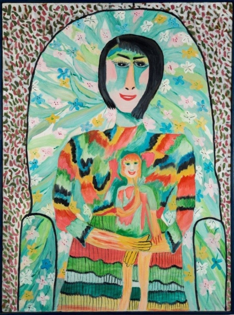 Pauline Simon, Ohne Titel (Woman and Child), 1965, Acryl auf Leinwand, 80 x 60 cm,