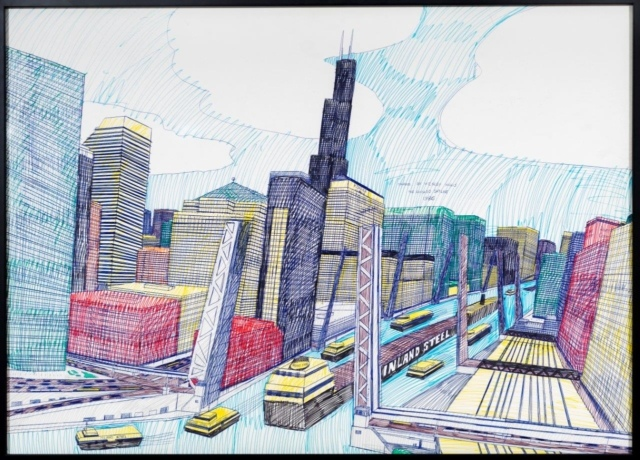Wesley Willis, The Chicago Skyline, Sears Tower, Chicago River (...), 1986, Kugelschreiber und Filzstift auf Karton, 71 x 99 cm,
