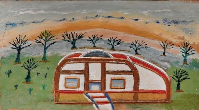 William Dawson, Barrelhouse, 1981, Acryl auf geschnitztem Ahorn, 25 x 46 x 2 cm,