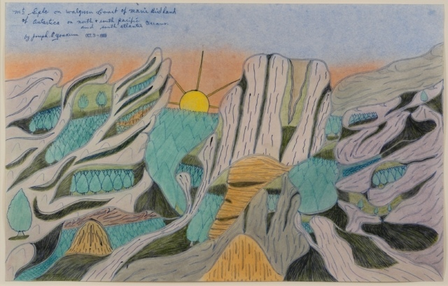 Joseph Yoakum, Mr. Seple on Walgreen Coast of Marie Birdland, 1969, Bleistift, Buntstift und Tusche auf Papier, ca. 30 x 48 cm,