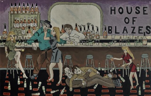 Nicholas Greeley, House of Blazes, um 1970, Mischtechnik auf Karton,