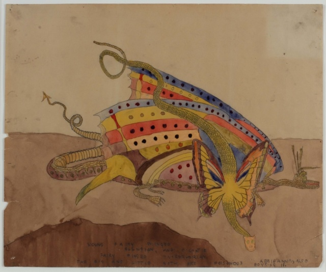 Henry Darger, Young Fairy Winged Blengian and Gigantic Fairy Winged Tuskorhorian, undatiert, Aquarell und Bleistift auf Manila-Papier, 36 x 43 cm, Collection of Robert A. Roth,