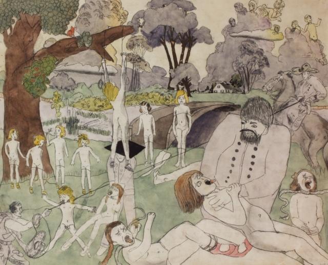 Henry Darger, Ohne Titel, 1940-50, Kohle, Bleistift und Aquarell auf Papier, 48 x 61 cm, Collection of Robert A. Roth,