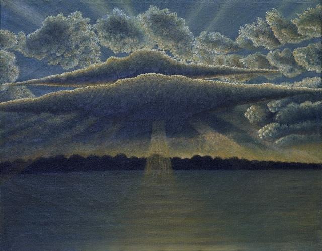 Drossos Skyllas, Eye of God, um 1950, Öl auf Leinwand, 37 x 46 cm,