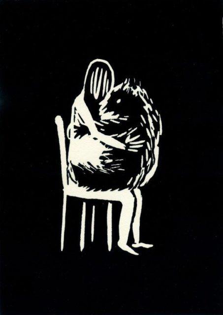 Youjin Yi, Fechtenmaske (schwarz), Linoldruck, 2019