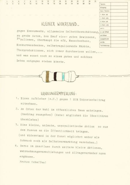 """Achim Sauter, Handlungsanweisung """"Kleiner Widerstand"""", Zeichnung, Schreibmaschine auf Papier, 2020"""