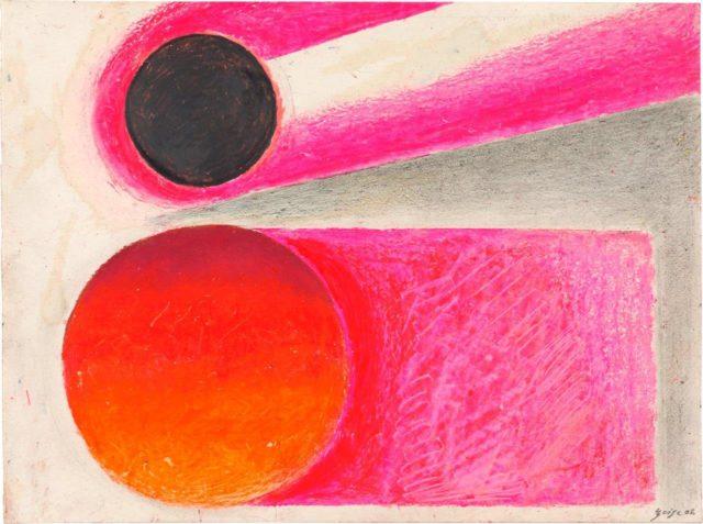 Rupprecht Geiger, Metapherzahl 8, 2006, Ölkreide und Graphit auf Drucker- und Transparentpapier, 30 x 40 cm,