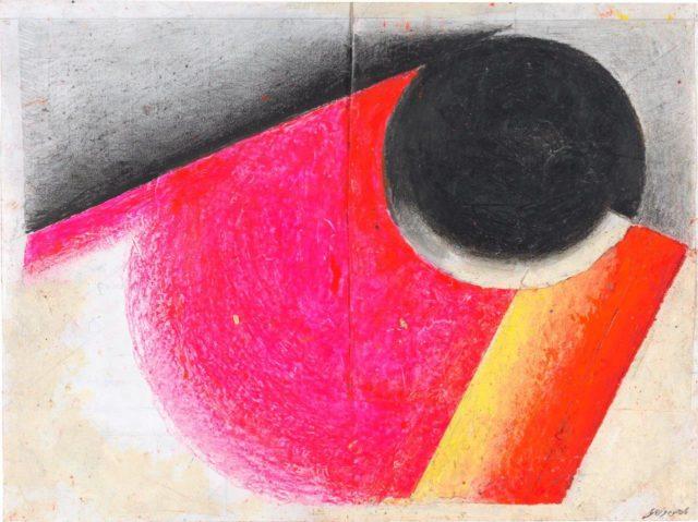 Rupprecht Geiger, Metapherzahl 9, 2006, Ölkreide und Graphit auf Drucker- und Transparentpapier, 30 x 40 cm,