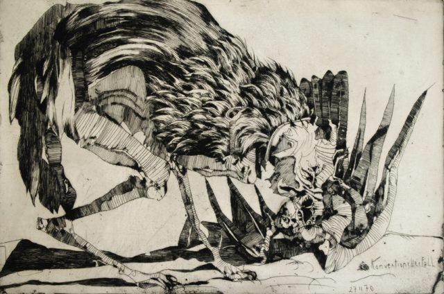 Horst Janssen, o.T. (Konventioneller Fall, Vogel), 1970, Kupferstich, Radierung, 22,5 x 44,7 cm,