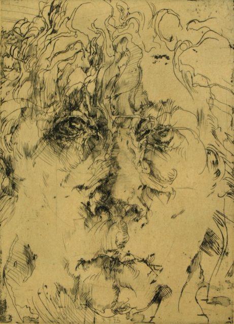Horst Janssen, o.T. (Selbstporträt), 1973, Kupferstich, Radierung, 26,4 x 19 cm,