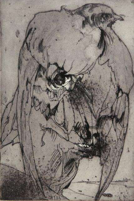 Horst Janssen, o.T. (Selbst mit Vogel), 1973, Kupferstich, Radierung, 22,7 x 14,7 cm,