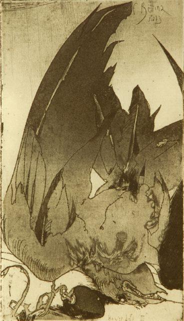 Horst Janssen, o.T. (Vogel), 1973, Kupferstich, Radierung, 22 x 12,6 cm,