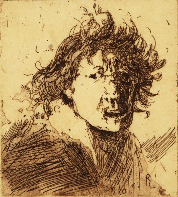 Horst Janssen, o.T. (Männerporträt), 1980, Kupferstich, Radierung, 13,9 x 12,1 cm,