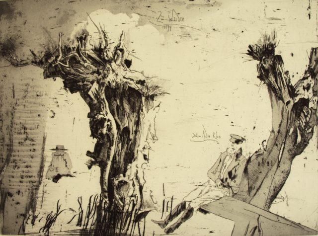 Horst Janssen, o.T. (Weiden), 1974, Kupferstich, Radierung, 43,7 x 57,8 cm,