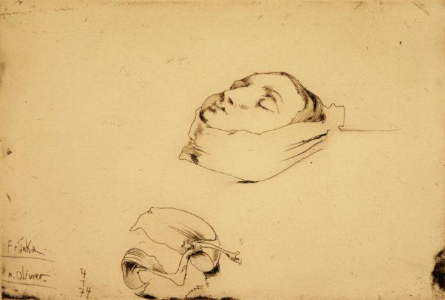 Horst Janssen, o.T. (Franka u. Olivier, Schlafende), 1974, Kupferstich, Radierung, 14,6 x 21,8 cm,