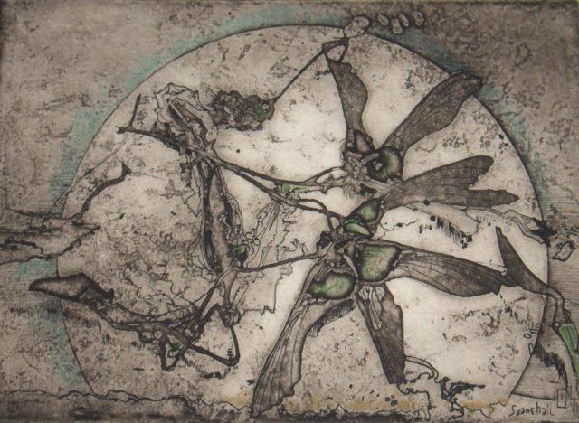 Horst Jansse, o.T. (Sonne mit Blüte), 1976, Kupferstich, Radierung, 13,5 x 18,8 cm,