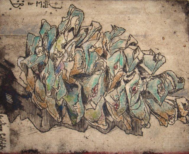 Horst Janssen, o.T. (Kieferzapfen), 1976, Kupferstich, Radierung, 13,7 x 17,3 cm,
