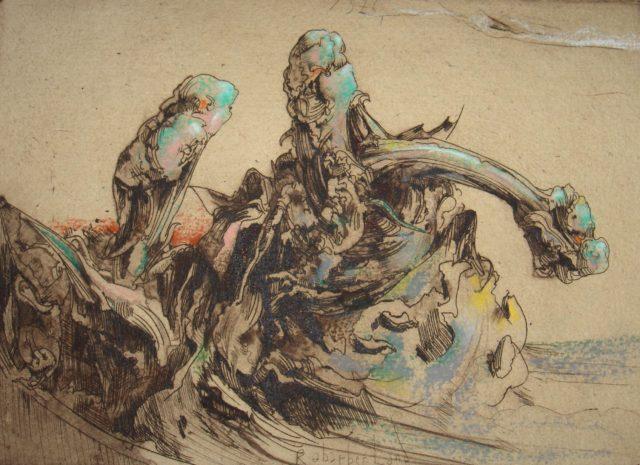 Horst Janssen, o.T. (Rharbarber, Blätter), 1976, Kupferstich, Radierung, 17,7 x 24,6 cm,