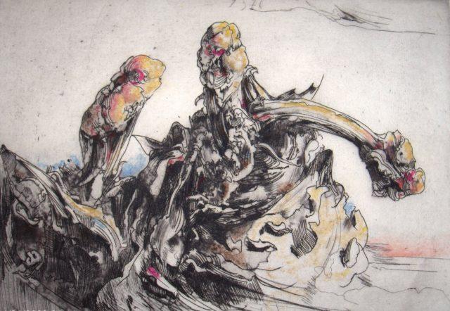 Horst Janssen, o.T. (Rharbarber, Blätter), 1976, Kupferstich, Radierung, 17,8 x 24,6 cm,